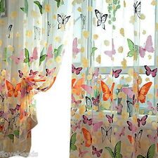 HOT 1x Butterfly Print Sheer Curtain Panel Window Balcony Tulle Room Divider