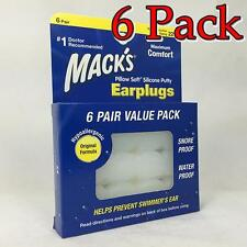 Mack's Pillow Soft Silicone Earplugs, Clear, 6pr, 6 Pack 033732000079X284