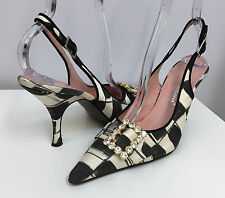 DOLCE & GABBANA SHOES SLINGBACKS BLACK OFF WHITE PRINTED R/S BUCKLE 37 1/2 7 7.5