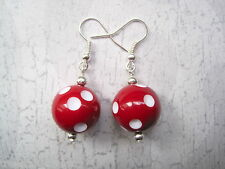 *RED WHITE POLKA DOT BALL* Silver Plated Drop Earrings Gift Bag ROCKABILLY Spot