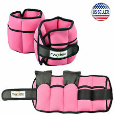 MaxxMMA 5 lbs Adjustable Neoprene Ankle Weights Pair, 2.5 lbs each Pink, Fitness