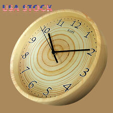 Vintage Style Large Round Non-Ticking Silent Antique Wood Wall Clock Home Décor