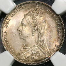 1889 NGC MS 63 GREAT BRITAIN Silver Shilling Victoria Jubilee Coin (16110521C)