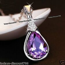 925 Silver Amethyst Crystal Necklace ll Anniversary Gifts For Her Wife Mum Women