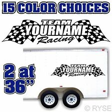 Custom Name Racing Flag Trailer Graphic Decal MX ATV Motocross Kart Race Car RV
