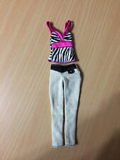 Barbie Doll Fashion Fever Pink Zebra Animal Print Top Pants Outfit Clothes