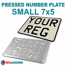 7x5 SMALL WHITE Motorcycle Bike Aluminium Metal PRESSED Number Plate +Fixers