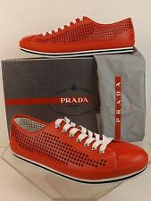 NIB PRADA RED PERFORATED LEATHER SPORTY CAP TOE LACE UP SNEAKERS 11 12 $450