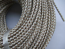 1/5 Yards 3mm Round Genuine/Real Bolo Braided Leather Cord DIY Craft Jewelry