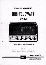 Utilisation Instruction avec schéma-Instructions pour petits Hummel telewatt v-112