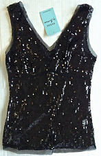 GUESS Sequin Layered Top Blouse Black Fully Lined Size Small MSRP $88 NWT