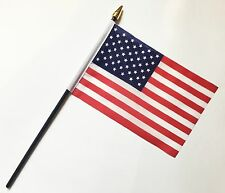 "USA PACK OF 12 SMALL HAND WAVING FLAGS flag 6""x4"" with 10"" pole AMERICAN"