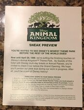 1998 WDW Walt Disney World Animal Kingdom Pre Opening Pass Sign Prop Ticket