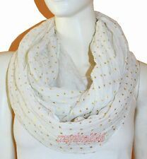 New White Light Weight All Season Star Gliding Crinkle Infinity Scarf Loop Cowl