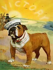 "BULLDOG DOG GREETINGS NOTE CARD PATRIOTIC WW11""QUEENIE"" WAR MASCOT"