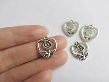 20 x Open Heart & Rose Flower Tibetan Silver Charms Pendants Beads 16x18mm