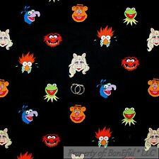 BonEful FABRIC FQ Cotton B&W Jim Henson Muppet Miss Piggy Kermit Frog Fozzy Bear