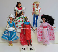 LOOSE SET McDonald's 1996 BARBIE Doll HAIR 5 Toy MEXICO Japan USA Dutch COMPLETE