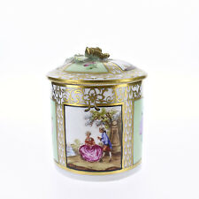 Vintage Hand Painted Dresden Porcelain Covered Box With Lime Green Panels - PC