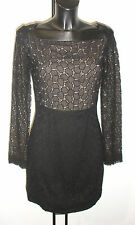 DVF NEW SARITA PEBBLE BLACK LACE LONG SLEEVES DRESS BNWT