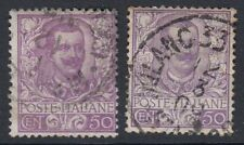 ITALY :1901 50c mauve & violet shades  SG  70,70a used
