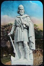 Glass Magic Lantern Slide STATUE OF KING ALFRED THE GREAT C1890 ROYALTY