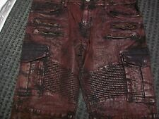 New Men's Jordan Craig Moto Denim Wine Coated Cargo Jean Size 36x34 Brand New!