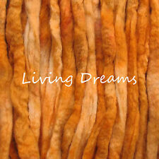 SPIN FELTING hand dyed APRICOT Top Wool Roving Craft Fiber NEEDLE SOAP WET
