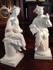 """Royal Worcester Bisque Figurines A. Azori Le Fleur e Le Oiseau - 3586 3587 11.5"""""""