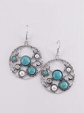 Dangle Drop Earrings Turquoise Silver Tone Pearl Rhinestone Fashion Jewelry
