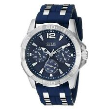 Guess U0366G2 Men's Blue Dial Steel & Blue Silicone Strap Watch