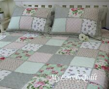Baby Green Cream White Patchwork Ruffled BEDSPREAD Quilt 3pc Set KING 245x265cm