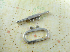 10 Silver Plated Flat Oval 2 Strand Toggle Clasps Findings 11510