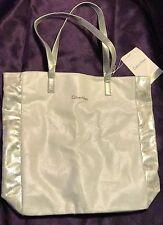 Calvin Klein Metallic White & Silver Tote Gym Beach Bag w/Inner Pouch NWT