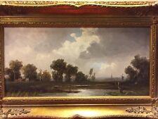 Gemälde Öl Auf Holz Erich Demmin Landschaft Mit Dorf Mit Kirchturm Mühle