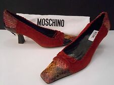 NEW MOSCHINO SNAKESKIN & SUEDE HEELS WINE RED BLACK GOLD LOVE 36.5 ITALY SHOES
