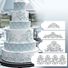 HOT 4PCS/Set Stencil Flower Fondant Cake Stencil Cookie Cake Stencil Decor Tool