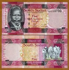 South Sudan, 5 Pounds, 2011, Pick 6, UNC