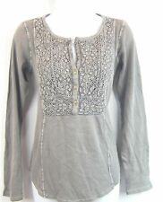 Lucky Brand Women's M Gray Lace Crochet Button Henley Top Blouse Pullover NWT
