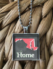 Maryland Home State Love Map Pride Glass Pendant Silver Chain Necklace NEW