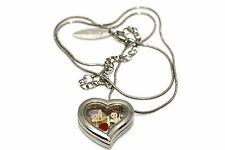 DISNEY HEART LOCKET SILVER NECKLACE FLOATING SNOW WHITE DOPEY APPLE CHARM