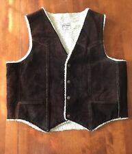 Men's Vintage Steer Brand  Leather Brown White Shearling Vest Size XL