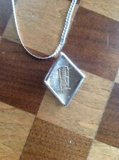 Peruvian Sterling Silver Chain With Pendant With 18 Kt Insert Of Aztec Statue