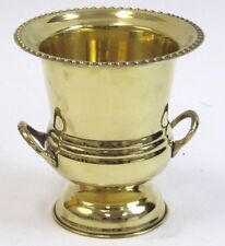 "SOLID BRASS Decorative Cup Urn Vase ICE BUCKET WINE COOLER 7"" Home Bar DECOR New"