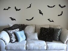 "bats, Set of 10 wall decals removable stickers halloween 6"" scary decoration"