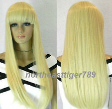 Hot Sell New Fashion Long Blonde Straight Bangs Women's Lady's Hair Wig Wigs+Cap