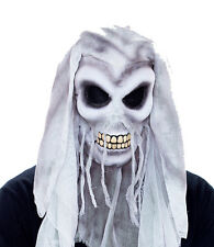 Mens THE UNEXPECTED Skull Mask Solid w/ Gray White Cloth Adult Teen PMG 6561059