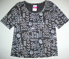 FRESH PRODUCE Gray LG Coconut Point Scoop Hazy Days 1/2 Sleeve Top NWT L