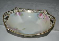 NIPPON HP WITH PINK ROSES  WITH GOLD NAPPY BOWL, OLD NIPPON  MARK