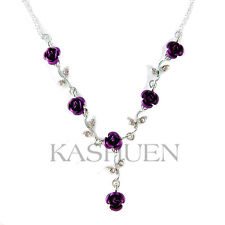 Purple w Swarovski Crystal Rose Flower Floral Bridal Wedding Bridesmaid Necklace